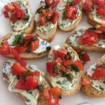bruschetta with fresh tomatoes and cream cheese
