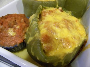 Stuffed Green Peppers and Mini Meatloaf