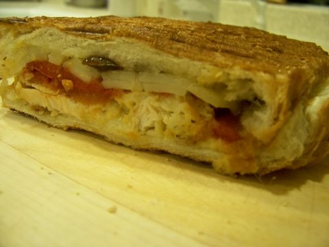 Chicken Panini Sandwich with Roasted Red Peppers