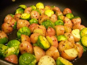 Brussels Sprouts and Potatoes Cooking