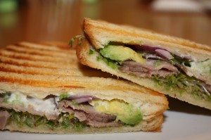 Panini with Roast Beef, Avocado and Sprouts