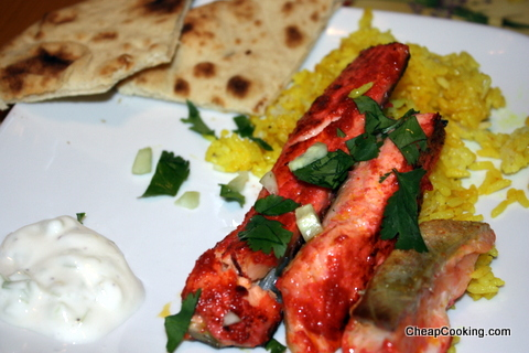 Raita, Tandoori-Rubbed Salmon with Ginger, Lemon and Turmeric Rice from Jamie Oliver