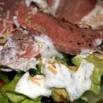 steak salad with homemade buttermilk ranch dressing