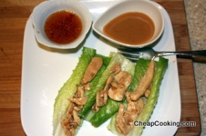 chicken lettuce wraps with two dipping sauces
