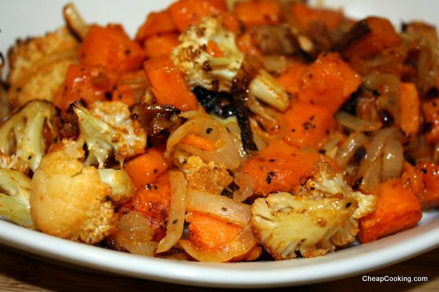 Roast Cauliflower and Sweet Potatoes