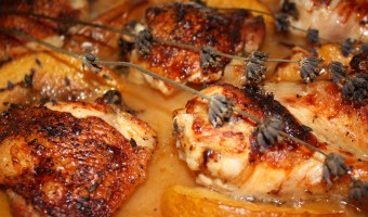 Roast Chicken with Peaches, Honey & Lavender
