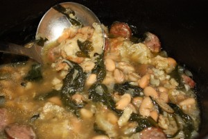 Sausage, Spinach, Bean and Cauliflower Soup