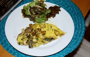 grilled artichoke and potato frittata with green salad