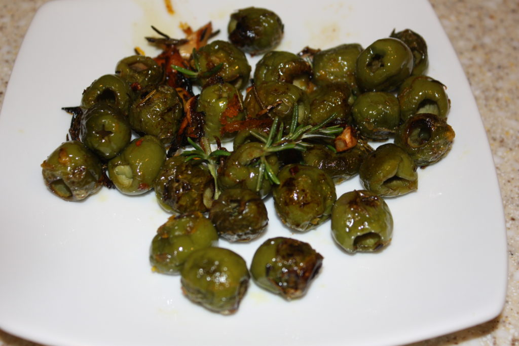 roasted green olives with orange and rosemary