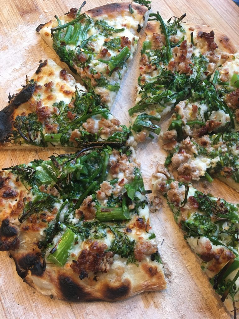 broccoli rabe and sausage pizza with Overnight Pizza Dough from Jim Lahey