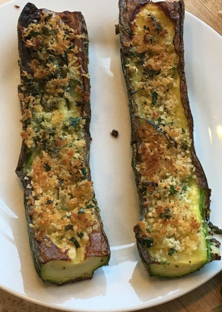 roast zucchini with bread crumbs