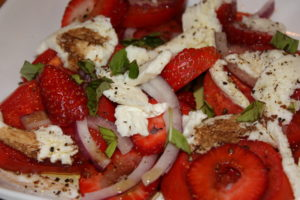 Strawberries, Tomatoes, Basil, and Red Onion